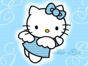 Postal: Hello Kitty de angelito azul