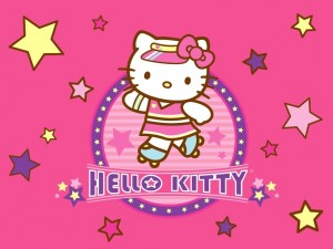 Hello Kitty sobre patines