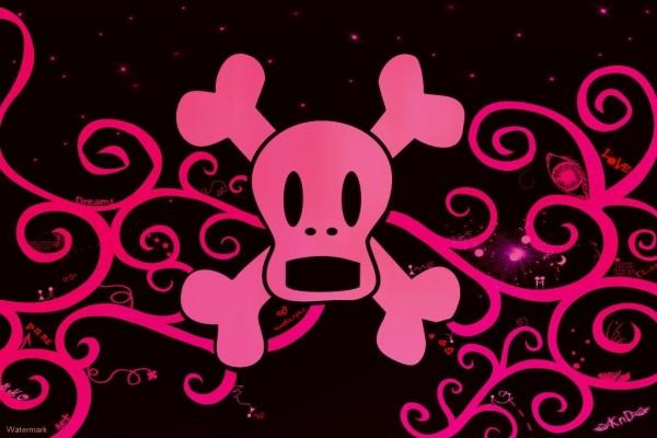"""Calavera """"emo"""" rosa"""