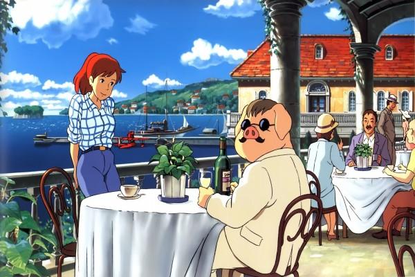 Porco Rosso tomando una copa de vino