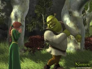Shrek con una flecha en el trasero