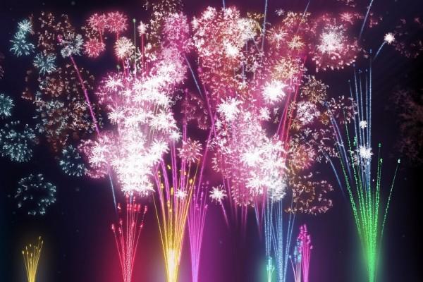 Fuegos artificiales de colores
