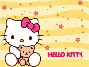 Postal: Hello Kitty con su osito