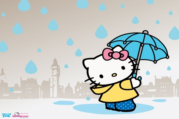 Hello Kitty bajo la lluvia