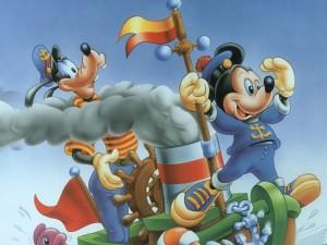 Mickey y Goofy navegando