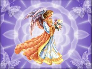 Postal: Ángel con flores