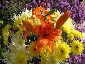 Crisantemos amarillos y liliums naranjas