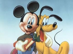 Postal: Mickey y Pluto