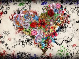 Postal: Corazón floral