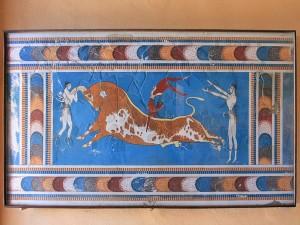Postal: Fresco del toro del palacio minoico de Knossos, en la isla griega de Creta