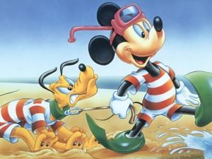 Postal: Mickey y Pluto van a la playa