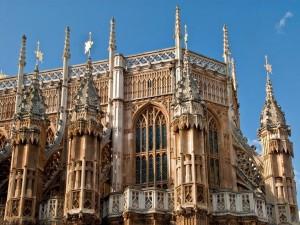 Postal: Abadía de Westminster (Londres), detalle del ábside oriental exterior