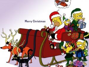 Postal: Los Simpson repartiendo los regalos de Navidad
