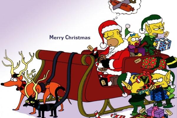 Los Simpson repartiendo los regalos de Navidad