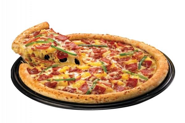 Pizza con mucho queso fundido