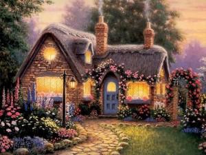 Postal: Linda casita en primavera