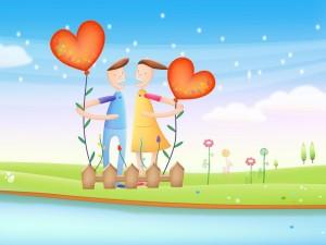 Dos enamorados sujetos a corazones
