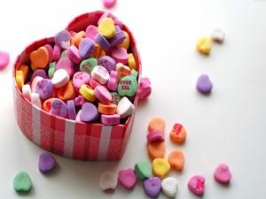 Caramelos de corazones con mensaje