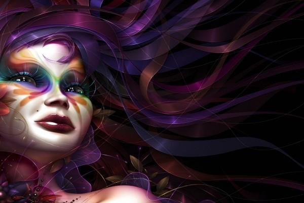 Mujer con la cara pintada