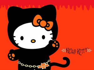 Postal: Hello Kitty de gatita vampiresa