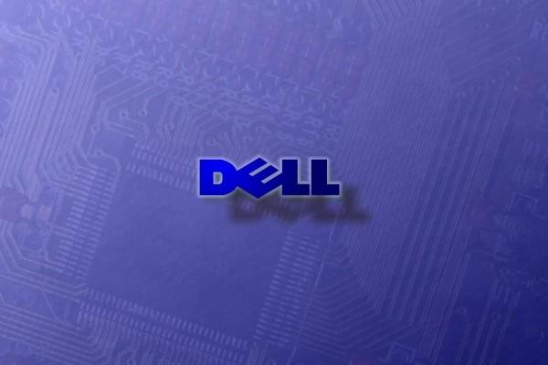 Logo de Dell sobre un circuito electrónico