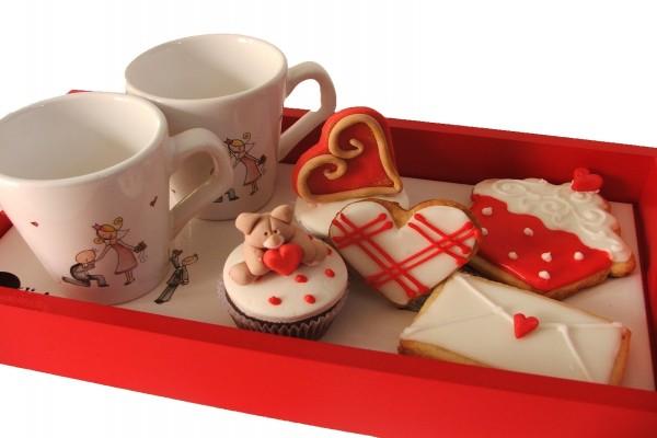 Bandeja de desayuno para San Valentín