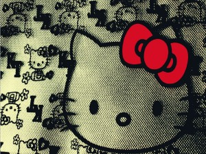 Postal: Hello Kitty con un lazo rojo