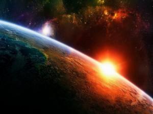 Postal: Amanecer espacial