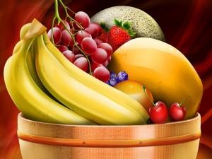 Frutero con plátanos y otras frutas