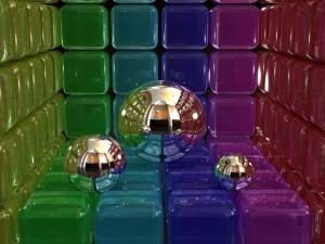 Postal: Bolas y cubos en 3D