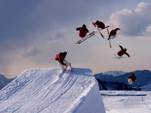 Secuencia de un salto de esquí acrobático