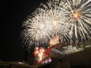 Fuegos artificiales en Belfort, con motivo del Año Nuevo