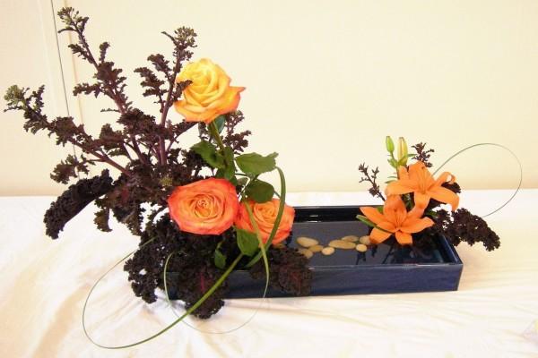 Ikebana con rosas
