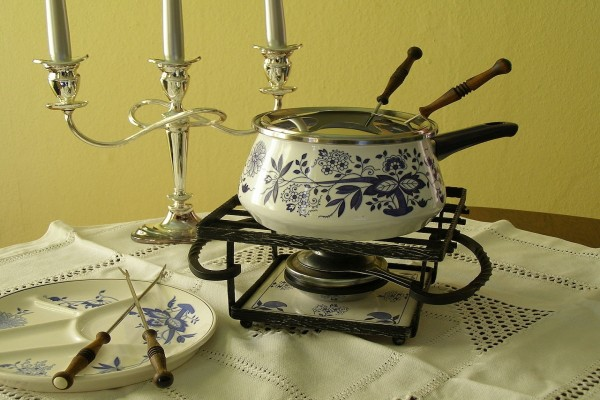 Juego de fondue con quemador de alcohol