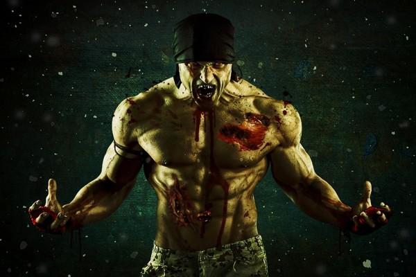 Hombre convirtiéndose en zombi