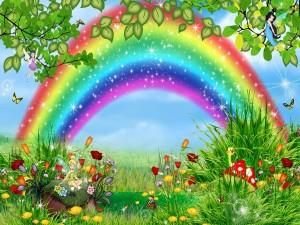 Postal: Jardín de fantasía con Campanilla y un bonito arco iris
