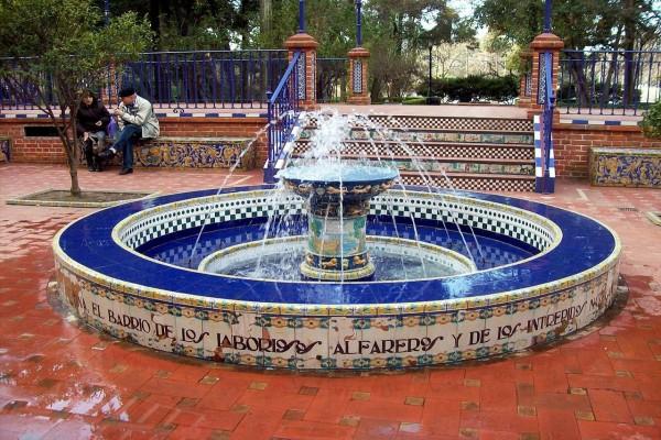 Fuente de agua en el Paseo Andaluz, en el Rosedal, Buenos Aires