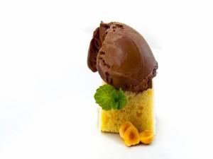 Bizcocho con helado cremoso de chocolate