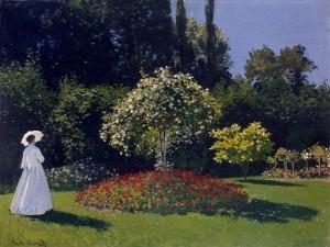 """Postal: """"Mujer en el jardín"""" de Claude Monet"""