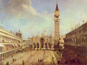 Postal: Plaza de San Marcos, por Canaletto