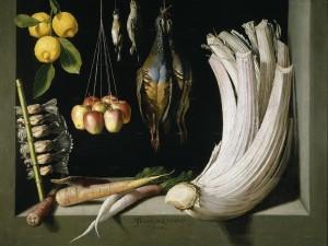 Bodegón de caza, hortalizas y frutas (Juan Sánchez Cotán, 1602)