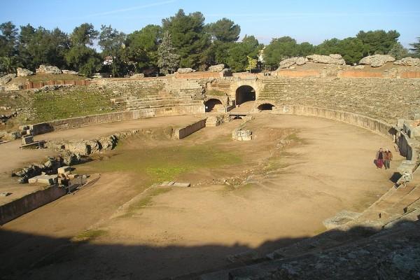 Arena del Anfiteatro Romano de Mérida, en España