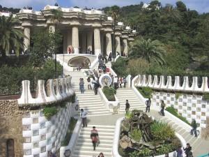Postal: Entrada al Parque Güell (Barcelona, España)