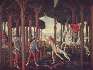 Postal: Nastagio degli Onesti, primer episodio (Museo del Prado)