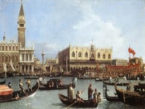Postal: El Bucintoro regresa al Molo el día de la Ascensión, Canaletto (1730)