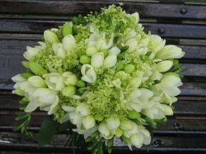 Postal: Ramo de novia con fresias blancas