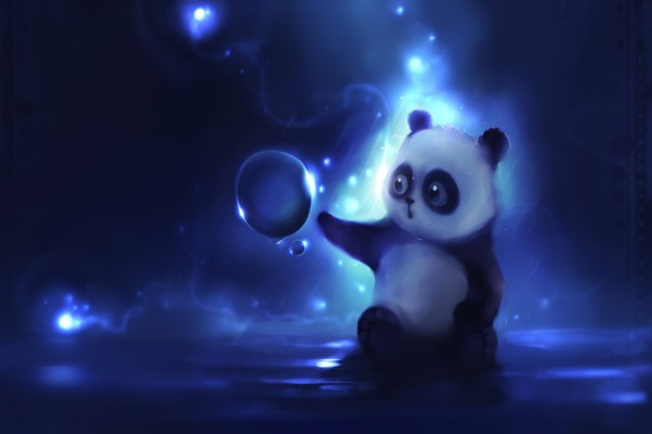 Pequeño oso panda jugando con una burbuja de agua