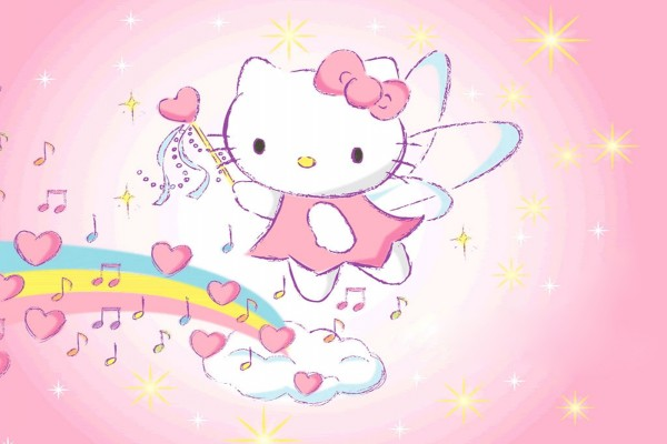 Hello Kitty en el arco iris