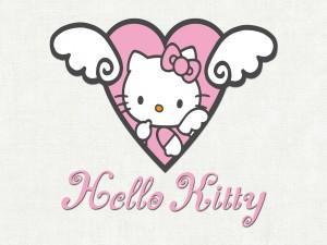 Postal: Corazón con Kitty