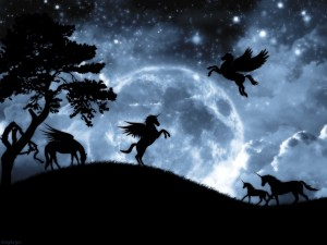Postal: Unicornios y Pegasos